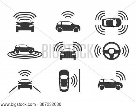 Driverless Car Icons. Autonomous Driving Cars, Gps Navigation On Road. Smart Self-driving Vehicles,