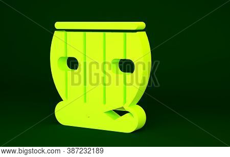 Yellow Indian Musical Instrument Tabla Icon Isolated On Green Background. Minimalism Concept. 3d Ill