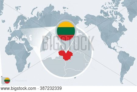 Pacific Centered World Map With Magnified Lithuania. Flag And Map Of Lithuania On Asia In Center Wor