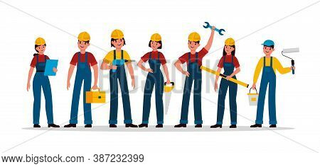 Builders Group. Construction Industry People Team In Helmet And Uniform, Contractor Engineer, Techni