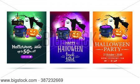 Halloween Discount Vertical Banner, Greeting Vertical Postcard And Poster For Halloween Party Isolat