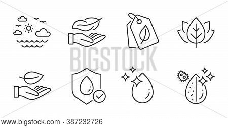 Waterproof, Leaf And Dirty Water Line Icons Set. Organic Tested, Water Drop And Bio Tags Signs. Ligh