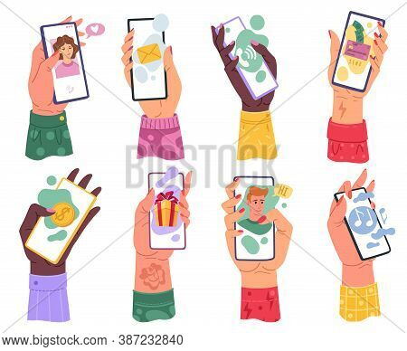 Hands With Phones. Millennials Woman Hand Holding Smartphone With Email Application Internet Music P