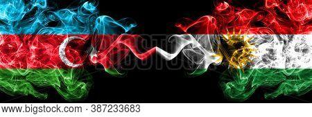 Azerbaijan, Azerbaijani Vs Kurdistan, Kurdish Smoky Mystic Flags Placed Side By Side. Thick Colored