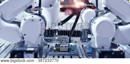 Industrial Robotic Arm For Holding Electronic Circuit Board Production In Machinery And Technology