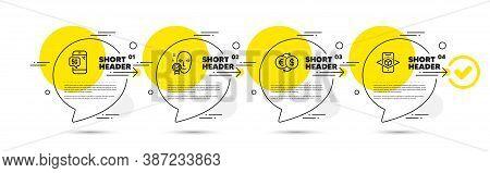 Face Verified, 5g Phone And Money Exchange Line Icons Set. Timeline Infograph Speech Bubbles. Augmen