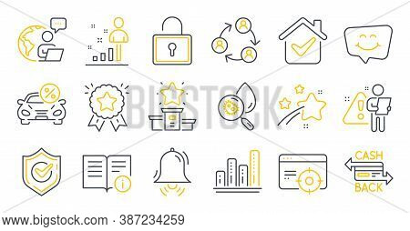 Set Of Technology Icons, Such As Seo Targeting, Car Leasing, Stats Symbols. Clock Bell, Lock, Techni