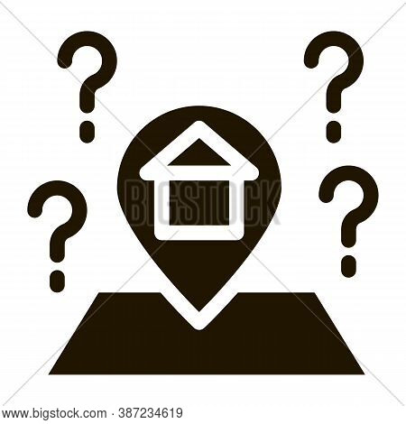 Gps Mark With House Glyph Icon Vector. Gps Mark With House Sign. Isolated Symbol Illustration