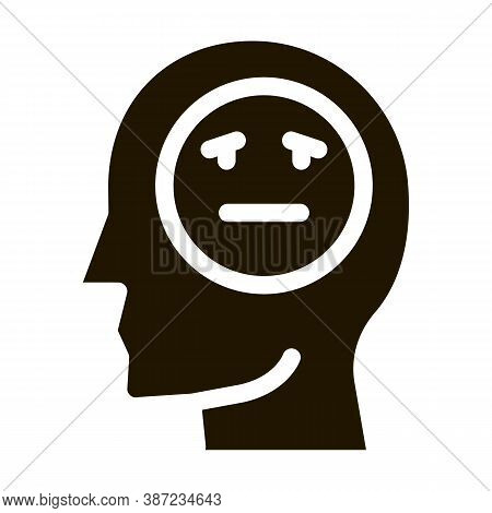 Man Melancholy Smiley Glyph Icon Vector. Man Melancholy Smiley Sign. Isolated Symbol Illustration