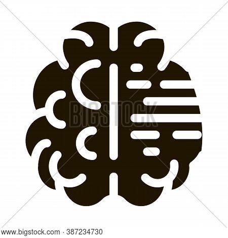 Brain Mental Health Glyph Icon Vector. Brain Mental Health Sign. Isolated Symbol Illustration