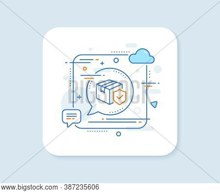 Parcel Insurance Line Icon. Abstract Square Vector Button. Risk Coverage Sign. Package Delivery Prot