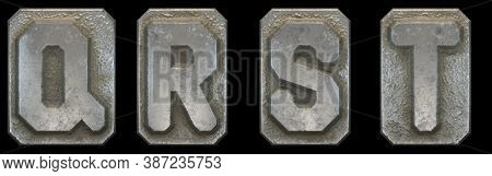 Set of capital letters Q, R, S, T made of industrial metal isolated on black background. 3d rendering