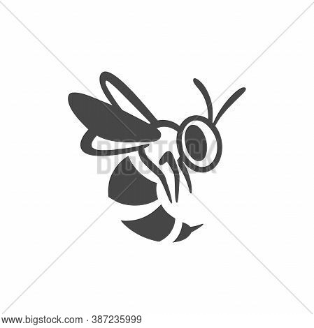 Wasp Flat Line Icon. Black Silhouette Of An Insect Isolated On A White Background. Graphic Symbol, D