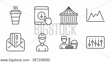 Carousels, Dj Controller And Diagram Line Icons Set. Scroll Down, Cleaning Service And Takeaway Sign