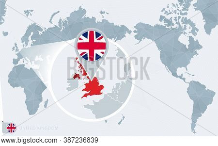 Pacific Centered World Map With Magnified United Kingdom. Flag And Map Of United Kingdom On Asia In