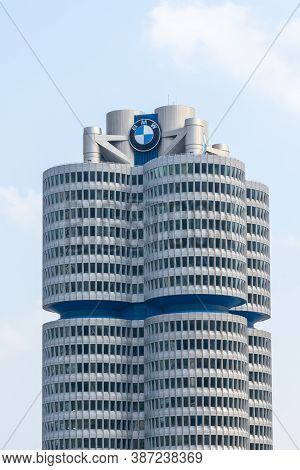 Munich, Bavaria / Germany - 17 September 2020: View Of The Bmw Headquarters In Munich