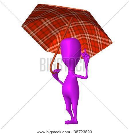 View Puppet Hold Squared Umbrella Under Rain