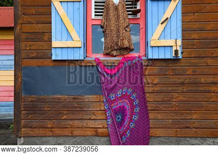 Creole Culture Colors. Caribbean Island Colorful Fashion And Architecture In Guadeloupe.