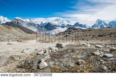 Panoramic View Of Mount Everest (8,848 M) The Highest Mountains In The World With Himalayan Range Vi