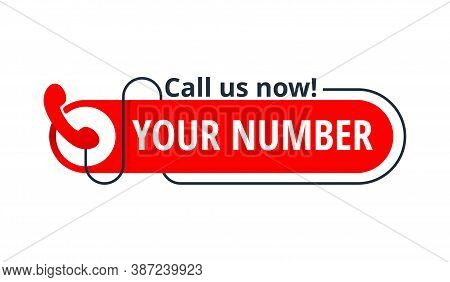 Call Us Now Button - Template For Phone Number - Catchy Element With Phone Headset Pictogram