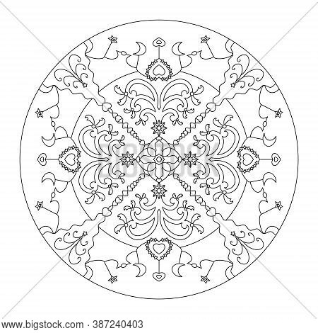 Christmas Mandala. Christmas Coloring Page. Fancy Christmas Tree And Little Hearts. Vector Illustrat