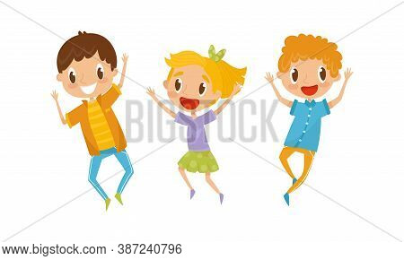 Little Boy And Girl Jumping With Joy And Excitement Vector Set