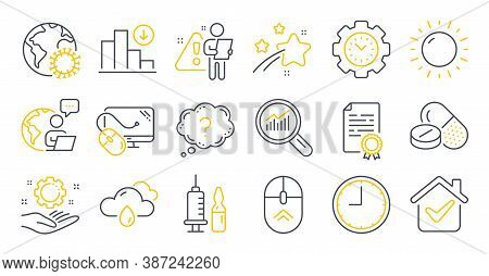 Set Of Science Icons, Such As Medical Vaccination, Swipe Up, Time Symbols. Medical Drugs, Certificat
