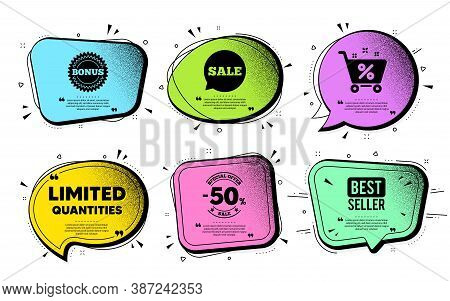 Limited Quantities Symbol. Speech Bubble With Dotwork Vector. Special Offer Sign. Sale. Quote Speech