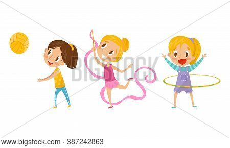 Cute Girl Doing Gymnastics With Ribbon And Playing Volleyball Vector Illustration Set