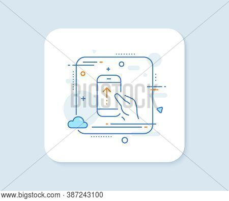 Swipe Up Phone Line Icon. Abstract Square Vector Button. Scrolling Arrow Sign. Landing Page Scroll S