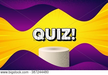 Quiz Symbol. Abstract Background With Podium Platform. Answer Question Sign. Examination Test. Dotte