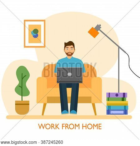 A Man Working At Home Concept Vector Illustration On White Background. Freelancer Character Working