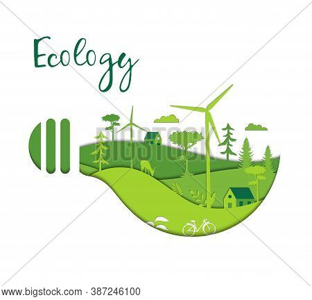 Save The Ecology, Green, Renewable Energy And Environment Concept. Wind Turbines, Eco Friendly Energ