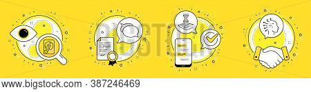 Talk Bubble, Hdd And Time Hourglass Line Icons Set. Licence, Cell Phone And Deal Vector Icons. Artif