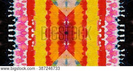 Batik Multicolor Design. Simple Patchwork Textile. Abstract Dyed Paint. Rainbow Patchwork Design. Ti