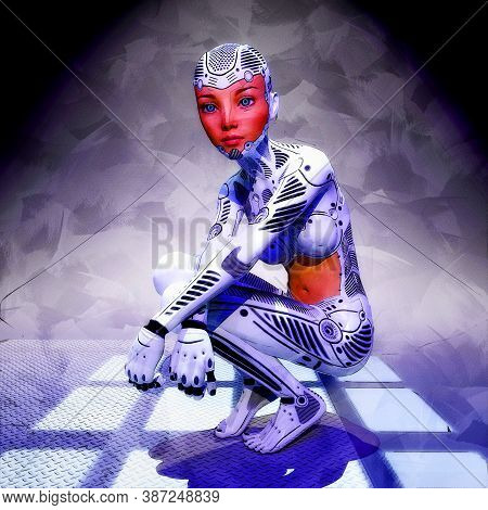 Artistic 3d Illustration Of A Female Cyborg