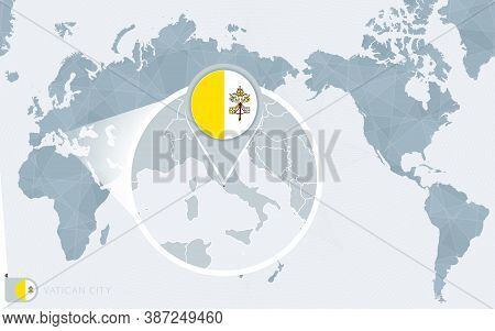 Pacific Centered World Map With Magnified Vatican City. Flag And Map Of Vatican City On Asia In Cent