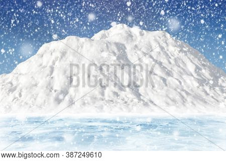 Big Snowy Mountain Against The Blue Sky. Winter Landscape Of Snow And Ice. Snowfall Concept. Arctic,