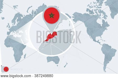 Pacific Centered World Map With Magnified Morocco. Flag And Map Of Morocco On Asia In Center World M