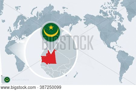 Pacific Centered World Map With Magnified Mauritania. Flag And Map Of Mauritania On Asia In Center W