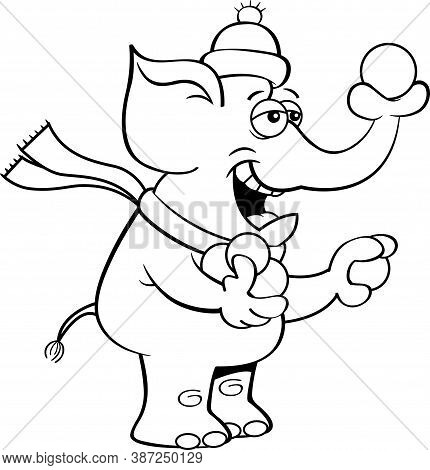 Black And White Illustration Of An Elephant Throwing Snowballs With It's Trunk.