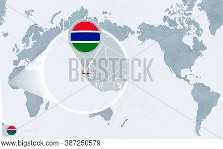 Pacific Centered World Map With Magnified Gambia. Flag And Map Of Gambia On Asia In Center World Map