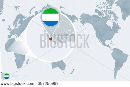 Pacific Centered World Map With Magnified Sierra Leone. Flag And Map Of Sierra Leone On Asia In Cent