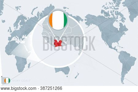 Pacific Centered World Map With Magnified Ivory Coast. Flag And Map Of Ivory Coast On Asia In Center