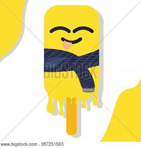 Bright Vector Illustration Of Colorful Ice Cream Tease. Minimalistic Style Symbols Isolated On White