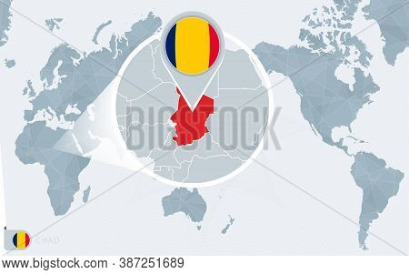 Pacific Centered World Map With Magnified Chad. Flag And Map Of Chad On Asia In Center World Map.