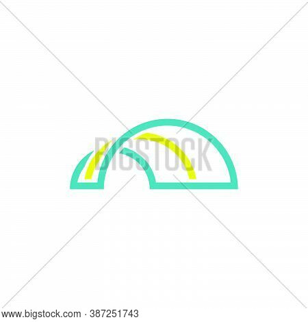 Tunnel Logo Of Multiple Arches. For Technology And Media