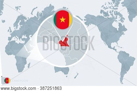Pacific Centered World Map With Magnified Cameroon. Flag And Map Of Cameroon On Asia In Center World