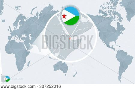 Pacific Centered World Map With Magnified Djibouti. Flag And Map Of Djibouti On Asia In Center World