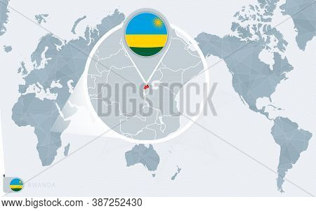 Pacific Centered World Map With Magnified Rwanda. Flag And Map Of Rwanda On Asia In Center World Map